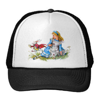 The White Rabbit races by Alice - he's late! Mesh Hats