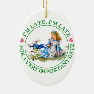 The White Rabbit Rushes By Alice In Wonderland Ceramic Oval Decoration