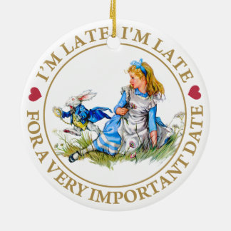 The White Rabbit Rushes By Alice In Wonderland Round Ceramic Decoration
