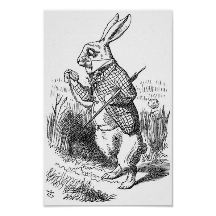 The White Rabbit with Watch Poster