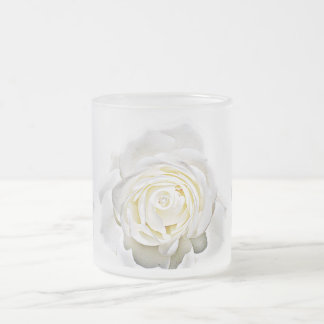 The White Rose of Love_ 10 Oz Frosted Glass Coffee Mug