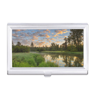 The Whitefish River with nice sunrise clouds Business Card Holder