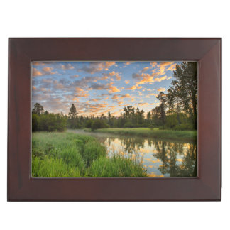 The Whitefish River with nice sunrise clouds Keepsake Box