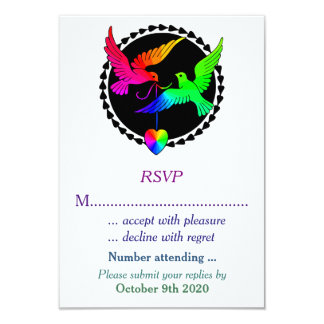 The Whole of the Rainbow Lesbian Wedding RSVP Invite