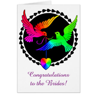 The Whole of the Rainbow Love Doves Lesbian Brides Greeting Card