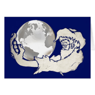 the whole world in a monkeys hand greeting cards