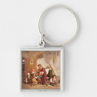 The widowed family, 19th century Silver-Colored square key ring