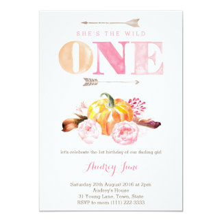 the wild one invites, 1st birthday, boho feathers 13 cm x 18 cm invitation card