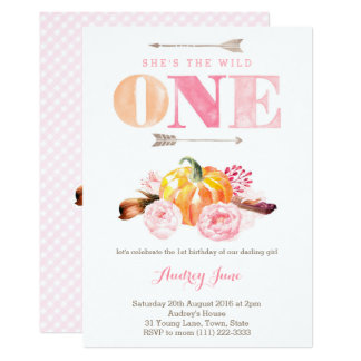 the wild one invites, 1st birthday, boho feathers card