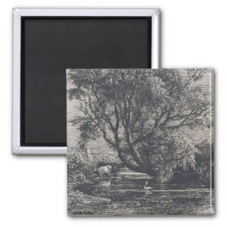 The Willow (etching) Square Magnet