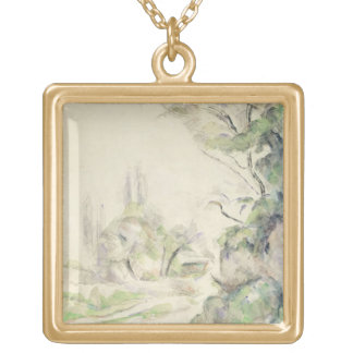 The Winding Road, c.1900-06 (w/c on paper) Square Pendant Necklace