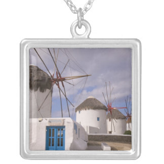 The windmills of Mykonos on the Greek Islands Silver Plated Necklace