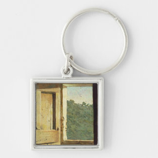 The Window (oil on canvas) Silver-Colored Square Key Ring