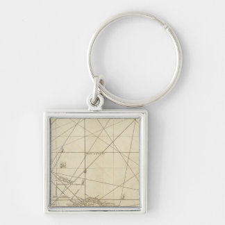 The Windward Passage with several passages Silver-Colored Square Key Ring