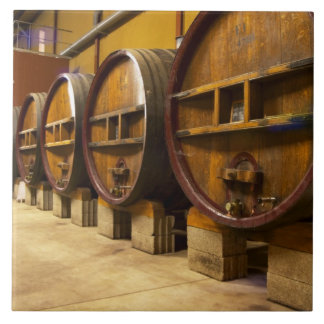 The wine cellar winery with big old wooden casks large square tile