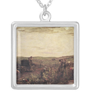 The Wine Harvest in Burgundy, 1863 Square Pendant Necklace