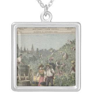 The Wine Harvest Square Pendant Necklace