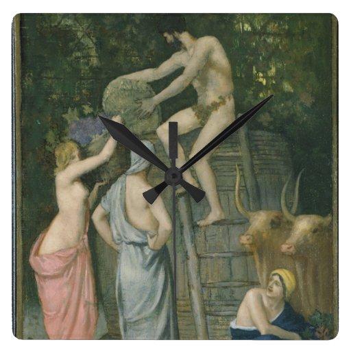 The Wine Press by Pierre Puvis de Chavannes Wallclocks