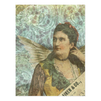 The Winged Lady Digital Collage Postcard