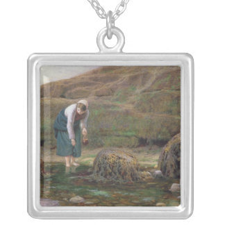 The Winkle Gatherer, 1869 Square Pendant Necklace
