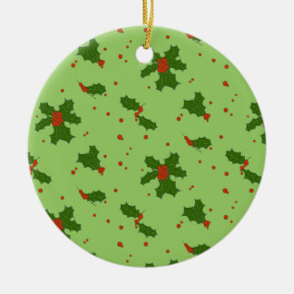The Winter: Happy Holly Days Pattern Christmas Ornament