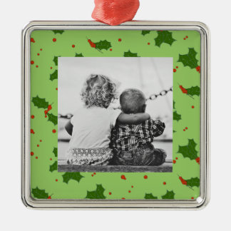 The Winter: Happy Holly Days Pattern Photo Christmas Ornament