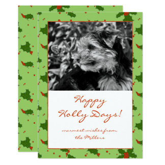 The Winter: Happy Holly Days Pattern Photo Note Card