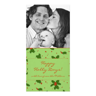 The Winter: Happy Holly Days Pattern Photocard Photo Greeting Card