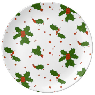 The Winter: Happy Holly Days Pattern Porcelain Plate