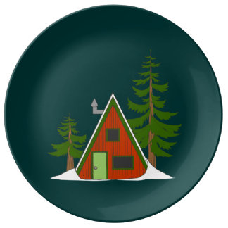 The Winter: Holiday Cabin Illustration Porcelain Porcelain Plates