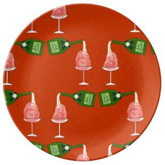 The Winter: Holiday Celebration Pattern on Red Porcelain Plates