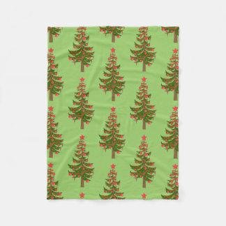 The Winter: Oh, Christmas Tree Pattern on Green Fleece Blanket