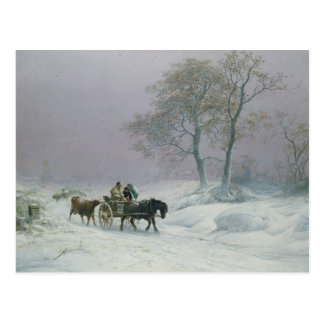 The wintry road to market postcard