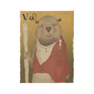 The Wise Beaver Wood Poster