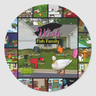 The Wish Fish Family Collage Round Sticker