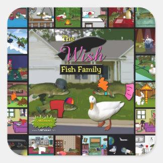 The Wish Fish Family Collage Square Sticker