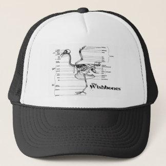 The Wishbones Hat White and Black Skeleton