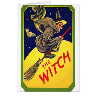 The Witch Vintage Halloween Card