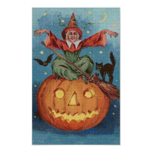 The Witch's Spell Cross Stitch Poster
