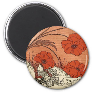 The Wizard of Oz Dorothy and Toto in the Poppies 6 Cm Round Magnet