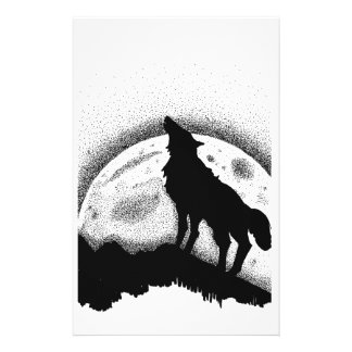 The wolf and the full moon personalized stationery