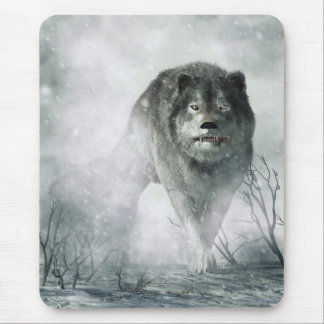 The Wolf of Winter Mouse Pads