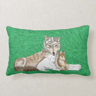 The Wolf, The Cub And The Lamb Lumbar Cushion