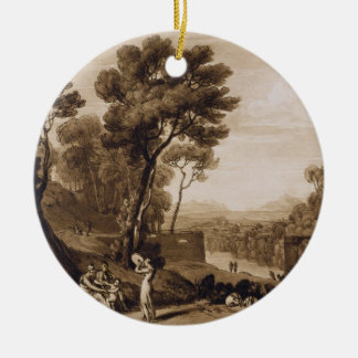 The Woman and Tambourine, engraved by Charles Turn Round Ceramic Decoration