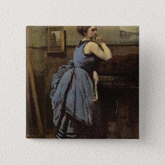 The Woman in Blue, 1874 15 Cm Square Badge