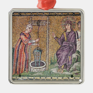 The Woman of Samaria at the Well Silver-Colored Square Decoration