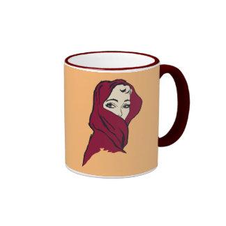 The woman with the crimson veil, retro vintage ringer mug