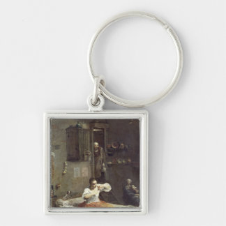 The Woman with the Flea Silver-Colored Square Key Ring