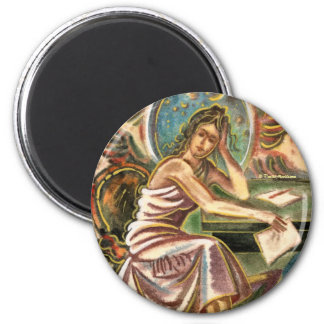 The Woman Writer Thinking Watercolor Painting 6 Cm Round Magnet