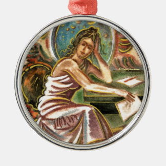 The Woman Writer Thinking Watercolor Painting Silver-Colored Round Decoration